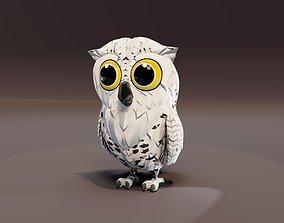 Cartoon Snowy Owl Animated 3D Model animated