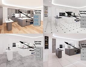 3D model KITCHEN CABINETS - revit family - million