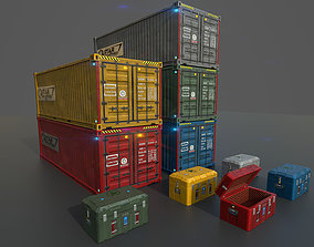 Low poly container and scfi box 3D model
