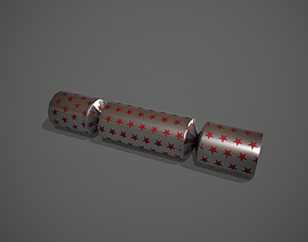 3D asset Silver and Red Stars Christmas Cracker