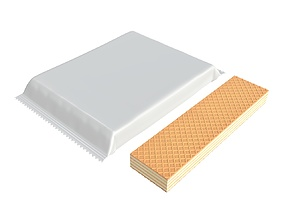 Blank package with waffle cake 02 3D model