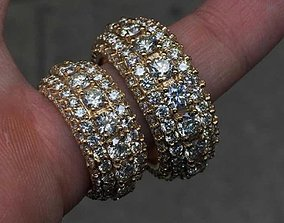 Diamond 5 row Eternity ring band Gold 3D print model 4