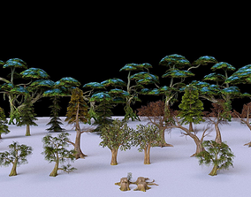 3D model Low Poly Tree Collection