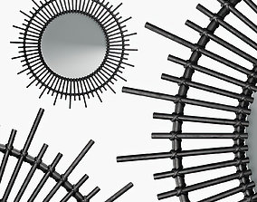 3D model Soleil mirror in black lacquered rattan