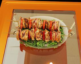 3D Grilled Chicken Kebab