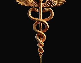 Caduceus Medical symbol 3d print model snake