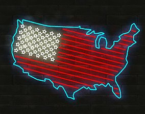low-poly 3D NEON USA FLAG AND MAP