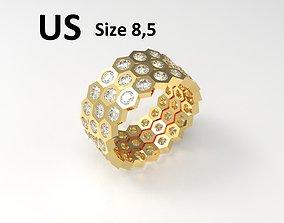 Model 121 Honeycomb Pave Diamond Ring US Size