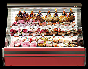 Shelves with meat 3D industrial