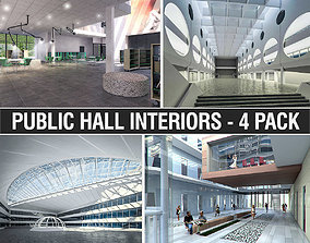 Public Hall Interiors Collection - 4 Pack 3D model