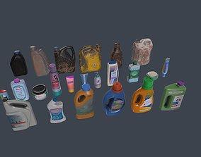 3D asset VR / AR ready Low poly bottles pack