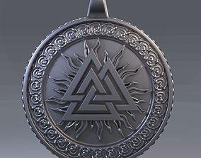 Scandinavian pendant valknut 3D print model