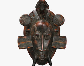 3D asset African mask Senufo Monkey