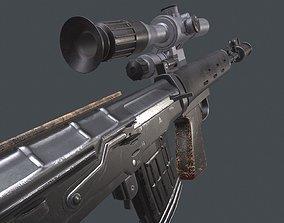 dragunov SVU russian sniper rifle 4K 3D asset