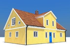 3D asset Swedish Yellow House