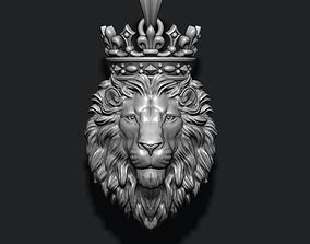 3D print model Lion pendant with crown and closed mouth v3