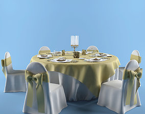 3D model banquet table cutlery