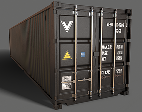 PBR 40 ft Shipping Cargo Container - Black 3D asset