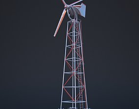 Wind turbine 3D model rigged game-ready