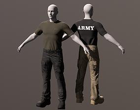 3D Mens tactical clothing Pants T-shirt Boots PBR model
