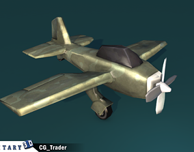 lowpoly military aircraft cartoon 3d model game-ready