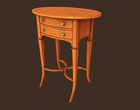 3D asset VR / AR ready Vintage oval side table with