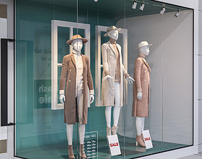 3D model Shop front with female mannequin
