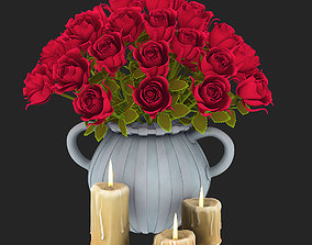 3D model vase with roses and candles for valentines day