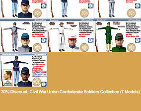 Civil War Union Confederate Soldiers Collection 3D model