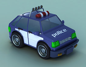 Super Cartoon police car toy police q version animated 3D