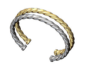 Faceted braided wire cuff bracelet 3D printable model