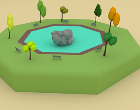 Oasis Scene Cartoon 3D model