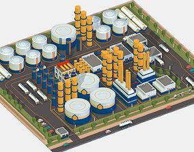 Isometric Complex Crude Oil Processing Plant 3D model
