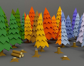 Stylized Trees Pack 01 3D asset