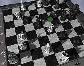 3D Chess Board Chessboard Gargoyles