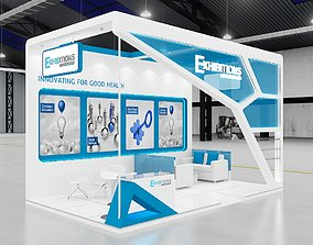 Exhibition stand 3d model three sides open