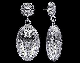 Bali Inspired Silver Earrings 3D print model