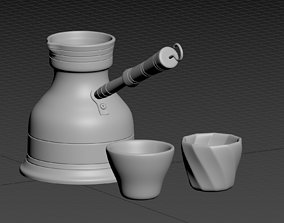 Middle Eastern traditional Coffee Pot and Cups 3D model