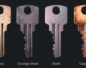Metal key for the door lock 3D asset