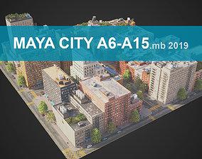 3D model City District A6-A15 MAYA