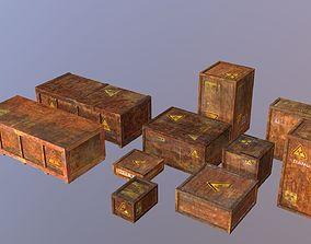 3D asset PBR Biohazard cargo transport crates pack