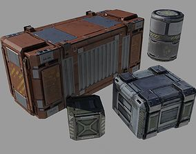 3D model Containers pack Low Poly ver 1