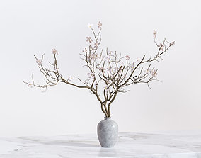3D model Twig with flowers and a bird in ceramic