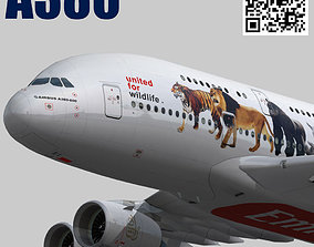 3D model animated Airbus A380-8 Emirates Wildlife A6-EEI