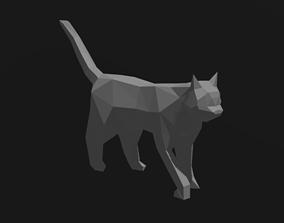 Low-poly cat 3D model deco
