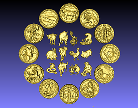 Moon sign and chinese zodiac sign 3D print model