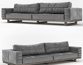 Dark-Gray-Leather-Sofa 3D model