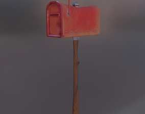 letterbox mailbox 3D model low-poly