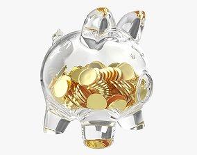 Piggy glass money bank with coins 3D