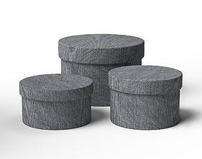 Grey Round Box Set 3D model